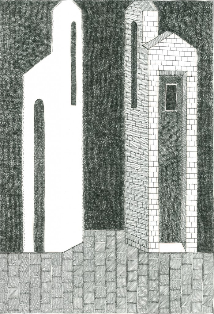 Alexandra Zuckerman, Two towers, Ink pen on paper, 29.7x42cm, 2014