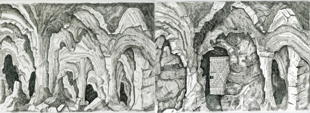 Alexandra Zuckerman, Two caves, Ink pen and pencil on paper, 21x29.4cm, 2015