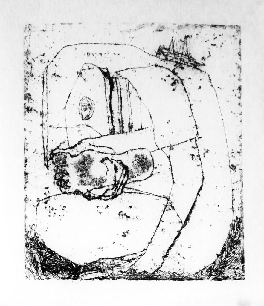 Shahar Yahalom, Thorn, Monotype, 60x45cm, 2015