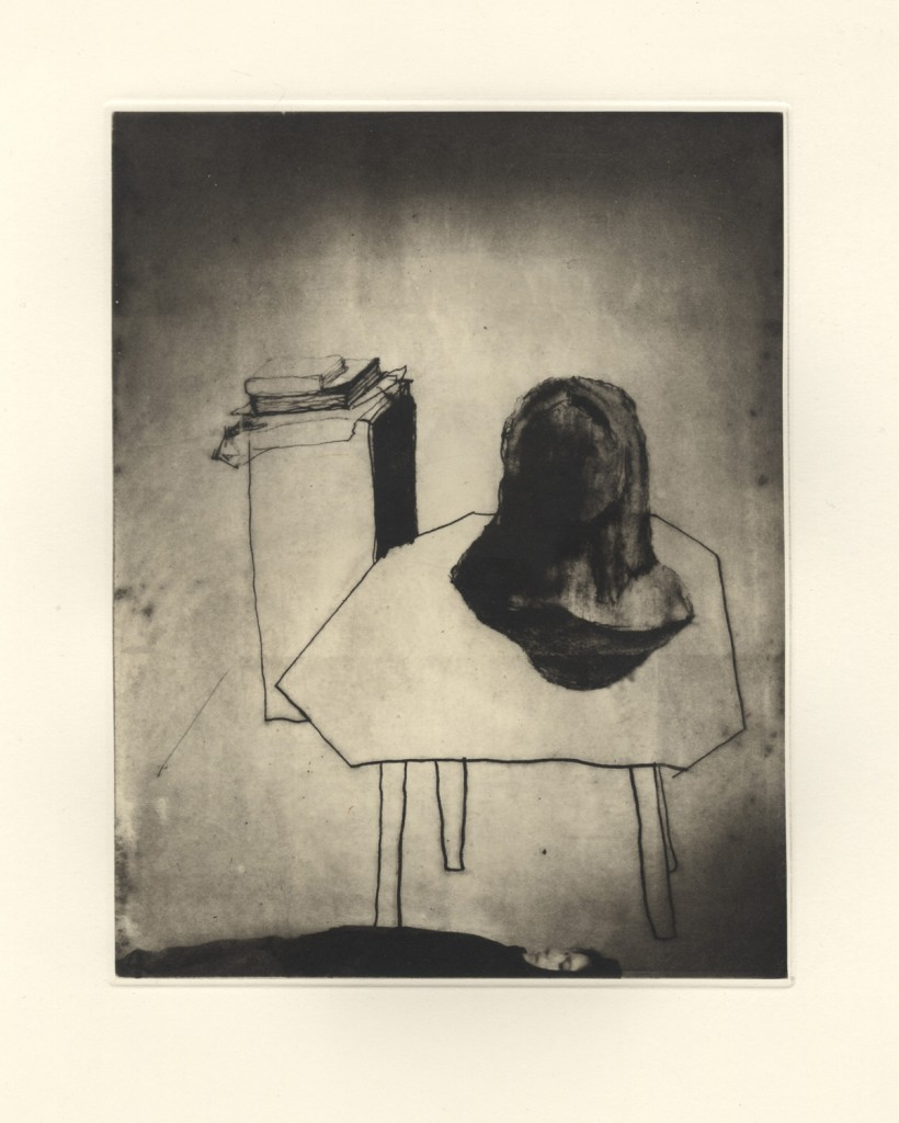Shahar Yahalom, Neris head (self portrait), photogravure print, 25x20cm, 2014