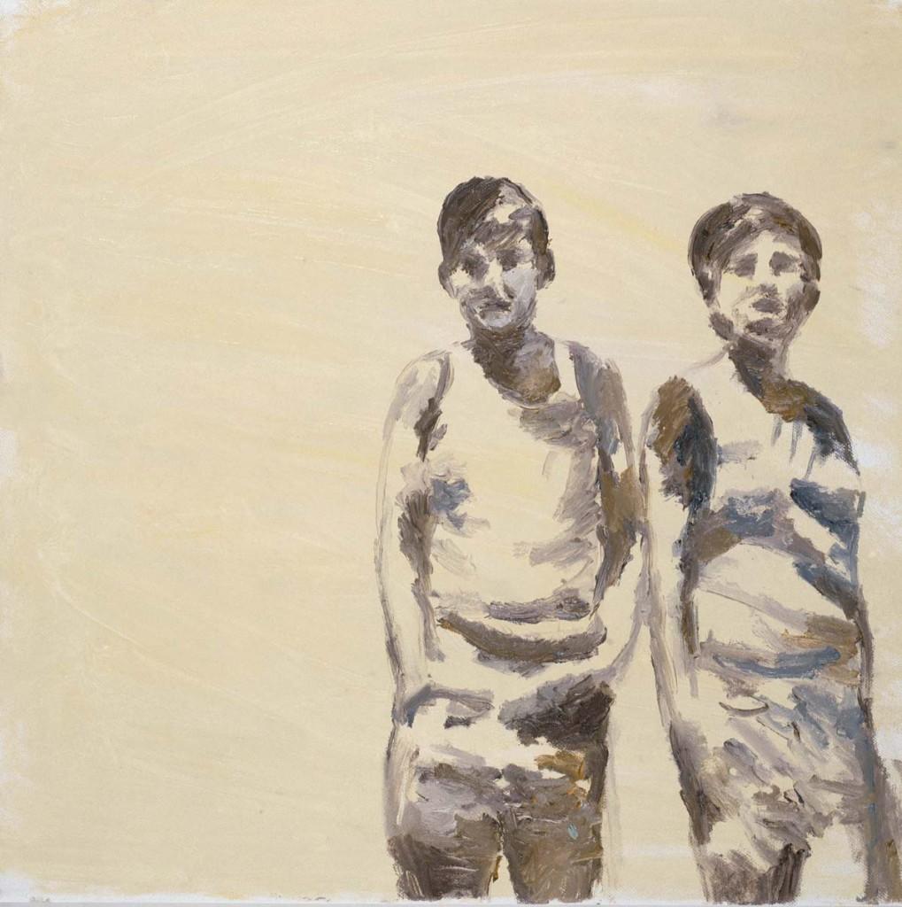 2 figures-yellowish background