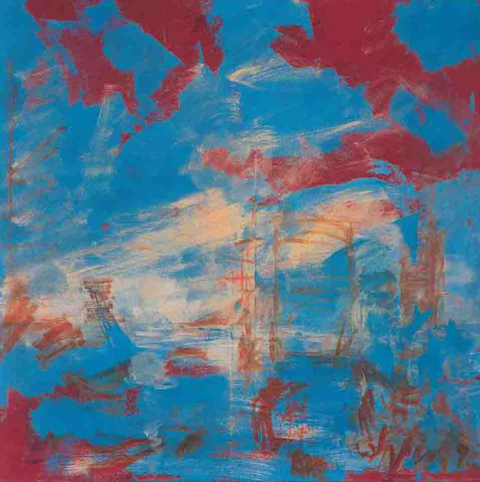 Eti Jacobi, A New Way of Crossing Bridges, Acrylic on Canvas, 90x90cm, 1996