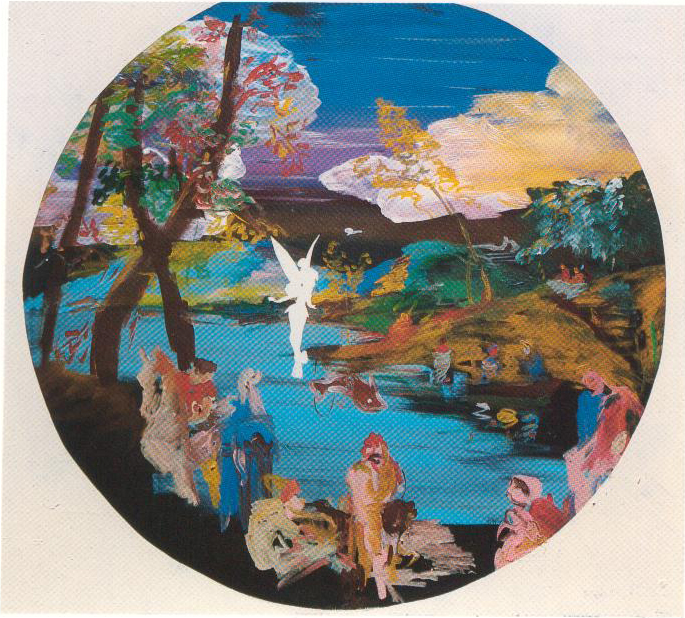 Eti Jacobi, And They Were Happy Because They Had Been Kind, Mixed Media on Canvas, 100x110cm, 1990