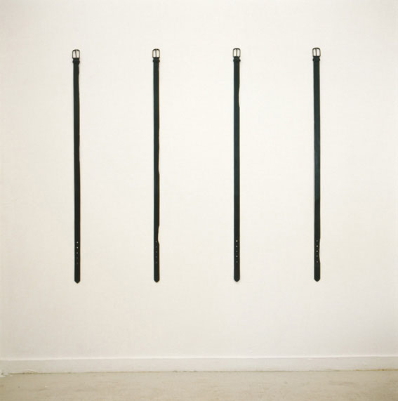 Lea Avital, Belts, Leather belts, nails, whitewash, acrylic paint, 120x4cm each, 2002