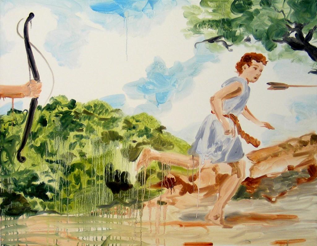 Jossef Krispel, David's escape, Oil on canvas, 100x80cm, 2006