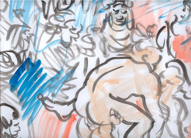 Donkies and Fairies Drawing Installation, Ink on Paper, 35x45cm, 2005