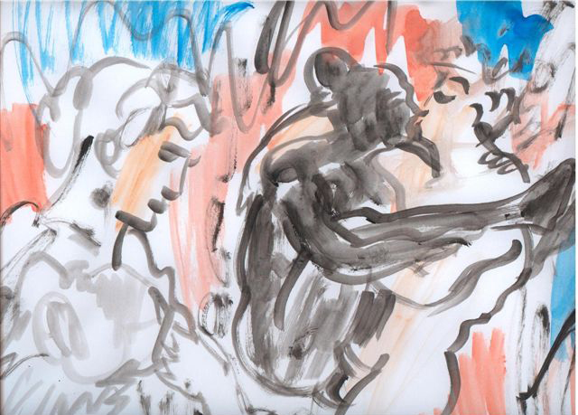 Eti Jacobi, Donkies and Fairies Drawing Installation, Ink on Paper, 35x45cm, 2005