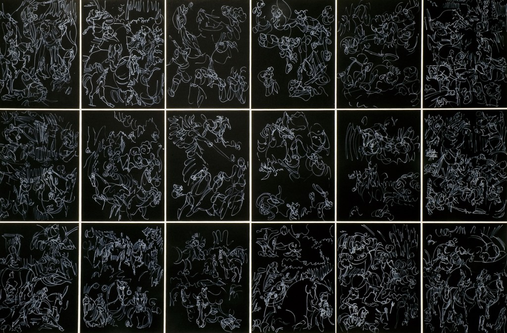 Eti Jacobi, Donkies and Fairies Drawing Installation, Ink on Paper, 35x45cm each, 2005