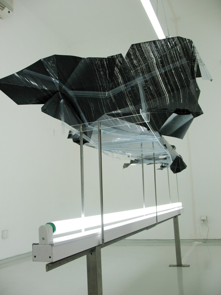 Shahar Yahalom, Pier, Installation View, (Nerosta, Neon Lightbulb and Transparent Paper), 2007