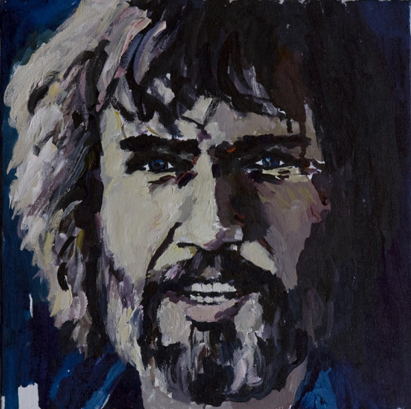 Kris Kristofferson, watercolor on canvas mounted on cardboard, 30x30cm, 2010
