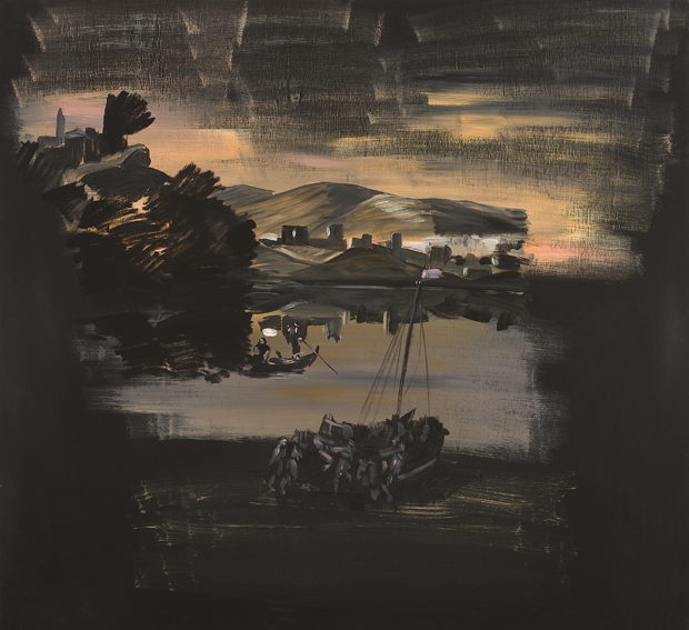 Landscape with a Boat, Acrylic on Plywood, 110x120cm, 2007