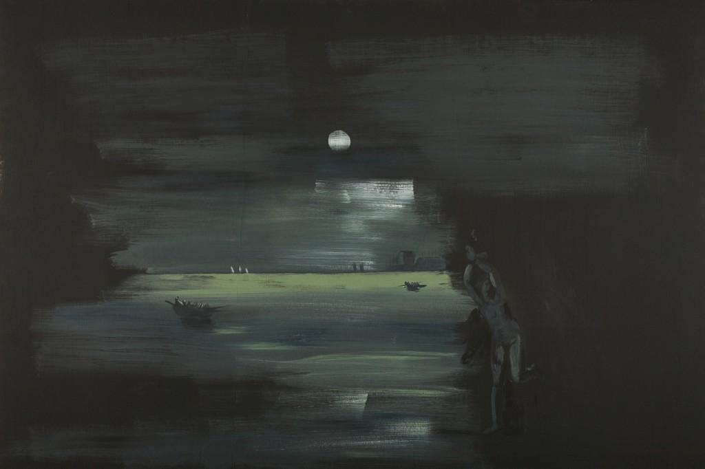 Eti Jacobi, Landscape with a Girl (Andromeda), Acrylic on Plywood, 80x120cm, 2007