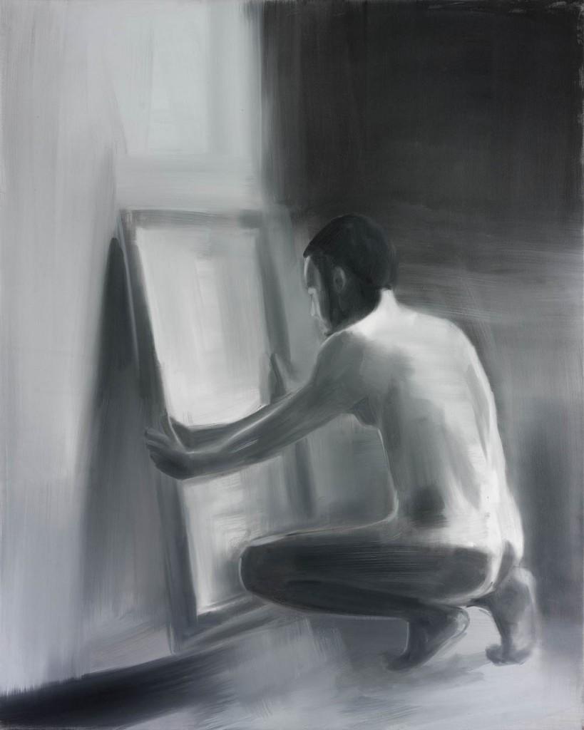 Jossef Krispel, Man in front of a mirror, Oil on canvas,151x121cm, 2010