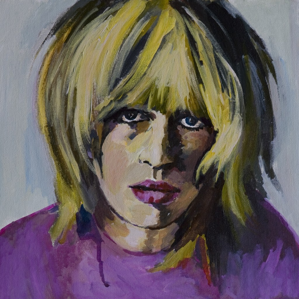 Orly Maiberg, Marianne Faithful II, watercolor on canvas mounted on cardboard, 30X30cm, ,2010