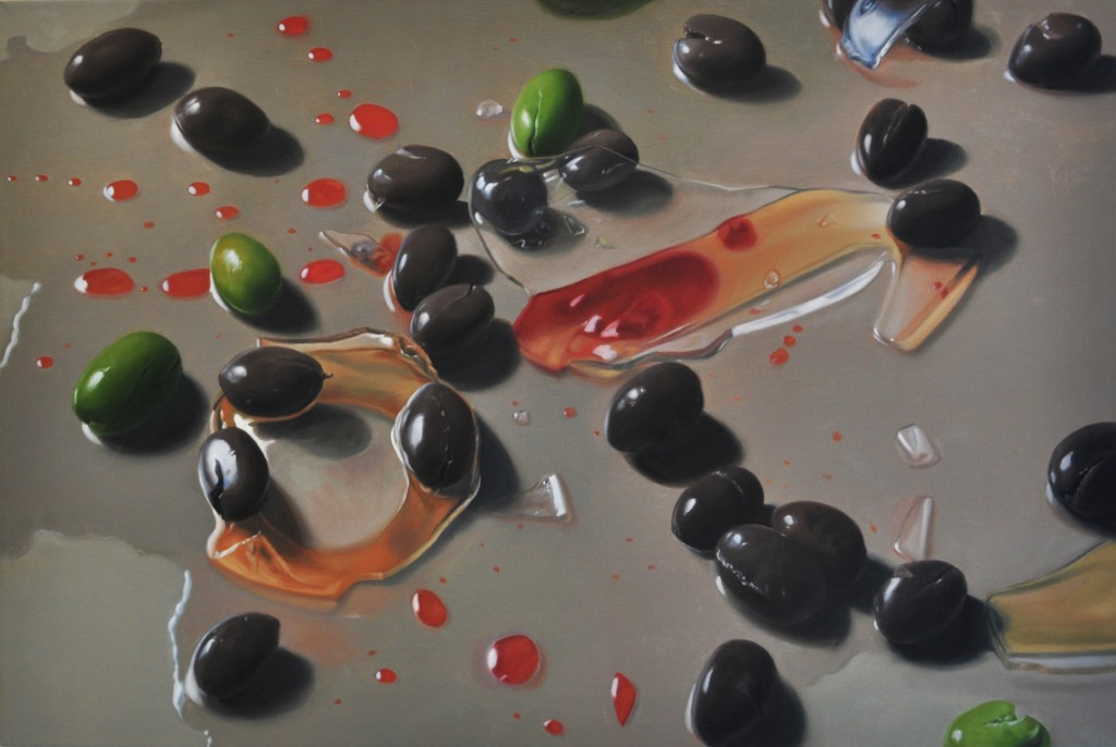 Michael Halak, Syrian-African Cracked Olives, Oil on canvas, 120x80cm, 2014