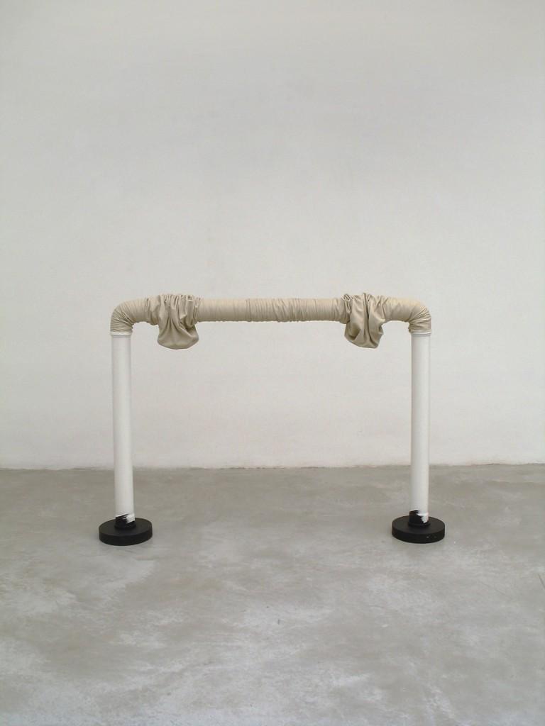 Lea Avital, Muscles, Plastic tubes, cloth, rubber, acrylic paint, 125x95cm, 2004