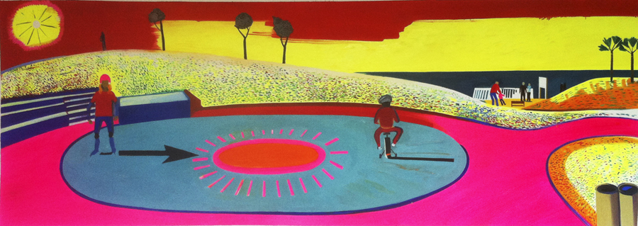 Ester Skating, Park Jaffa, oil on canvas, 90 x 253cm, 2012
