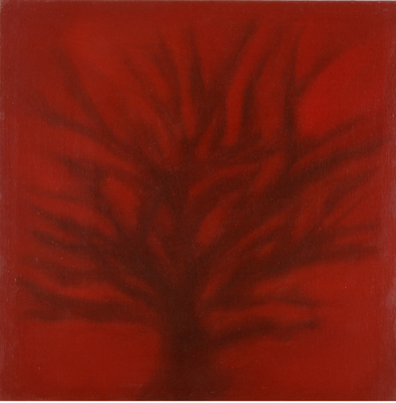 Early Crimson tree, oil on canvas, 60x60cm, 2001