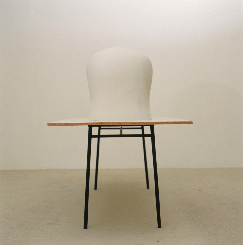 Lea Avital, manhood , Plaster, carkit, formica board, iron table Table: 240x80cm, Chest: 50x45x30cm, 2002