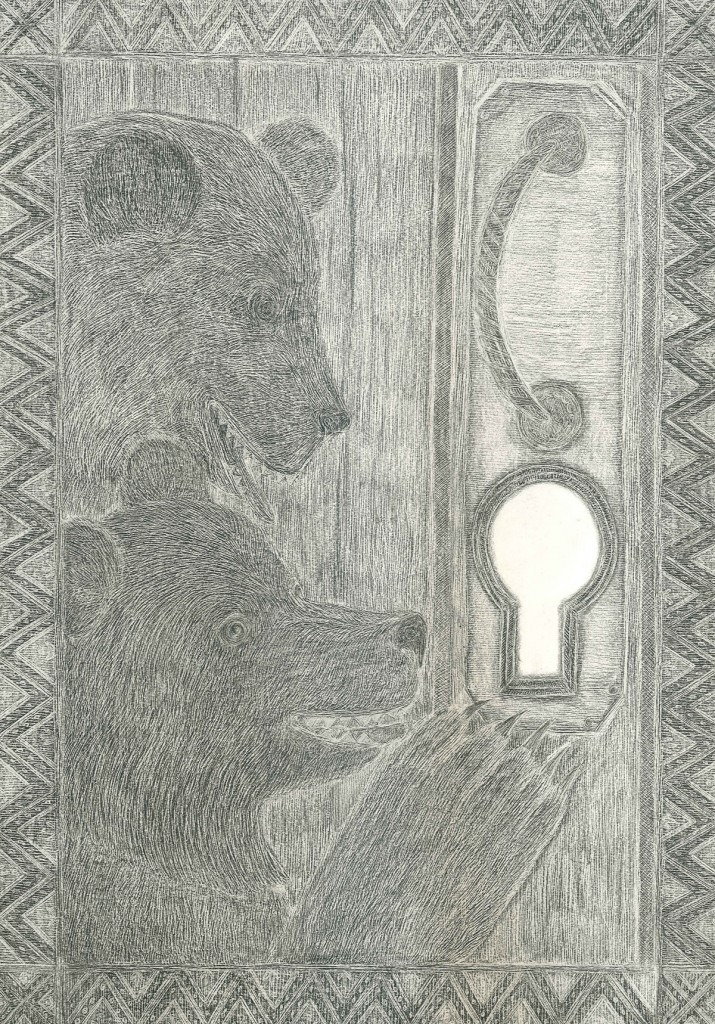 Bears looking through a hole, Pencil on paper, 42x29.7cm, 2012
