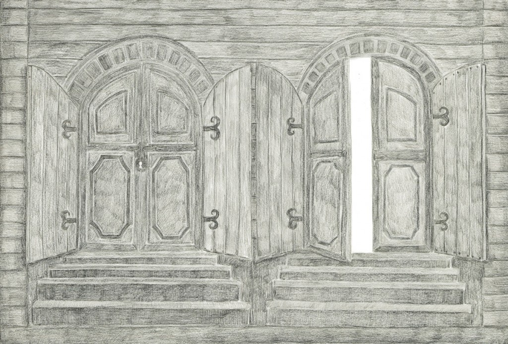 Alexandra Zuckerman, Doors, pencil on paper, 59.4x42cm, 2012