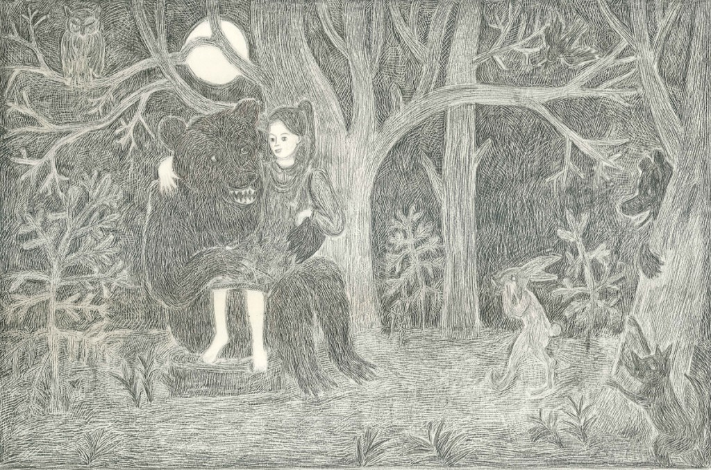 Girl meets bear in the woods, Pencil on paper, 42x29.7 cm, 2012