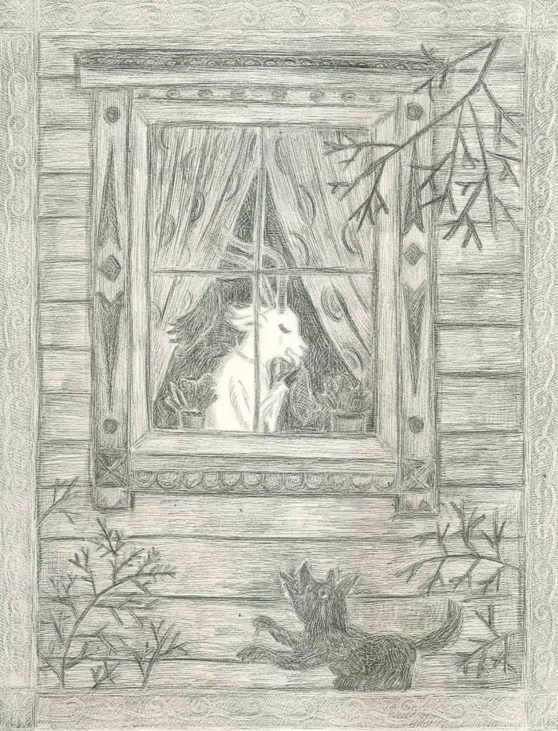 Goat crying at the window, Pencil on paper, 42x29.7cm, 2012