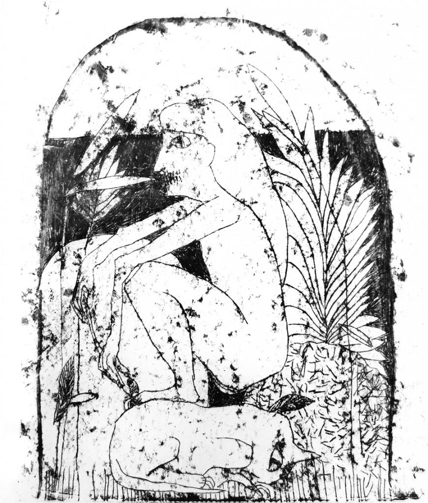 Shahar Yahalom, Hayot, Monotype, 60x53cm, 2015