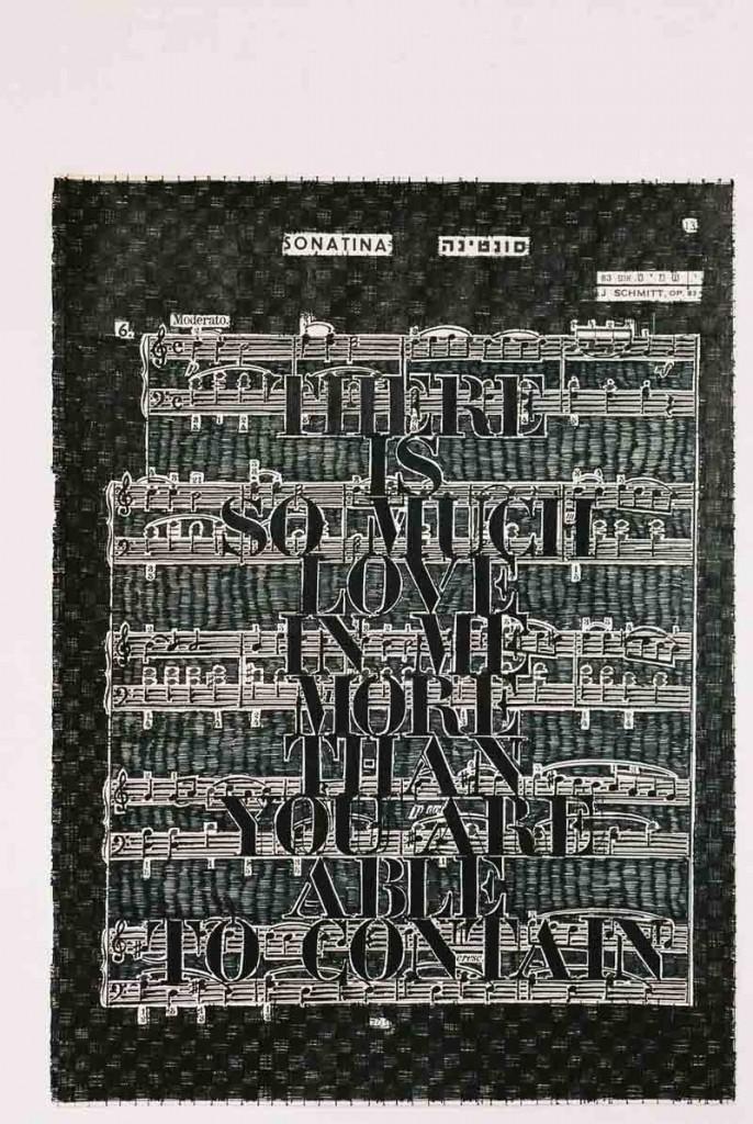 Sonatina 36, pen on music notes, 30x22 cm, 2001