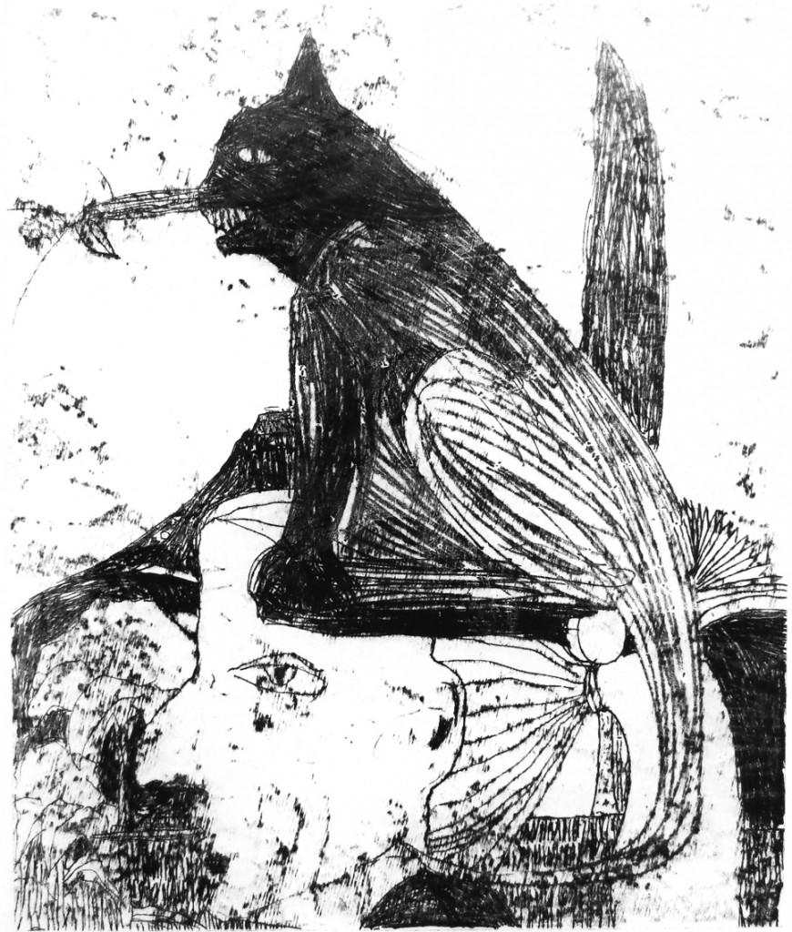 Shahar Yahalom, Ahal Testicles, Monotype, 60x53 cm ,2015