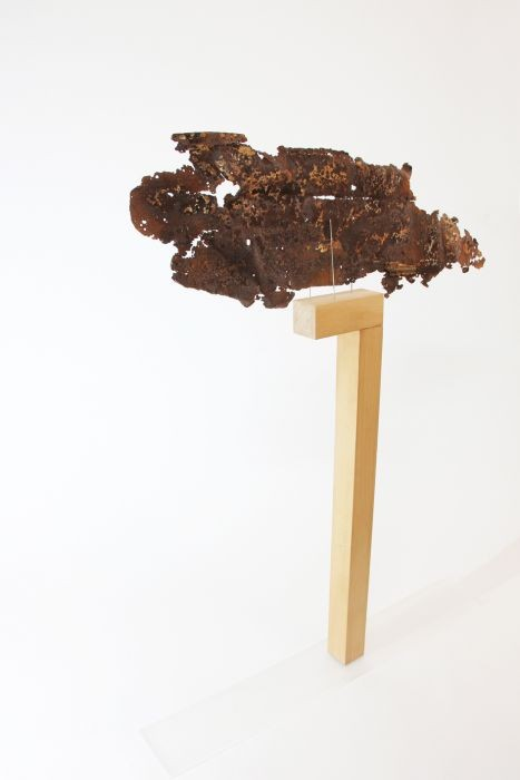 column no. 10, beech wood, rusty metal, 50x15x120cm, 2015