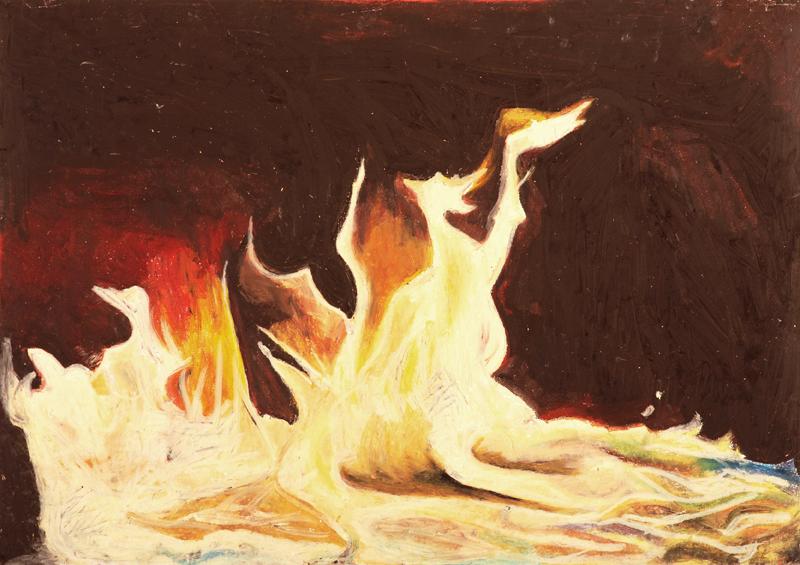 Oren Ben Moreh, Fire, Pastel on Paper, 70x100cm, 2011