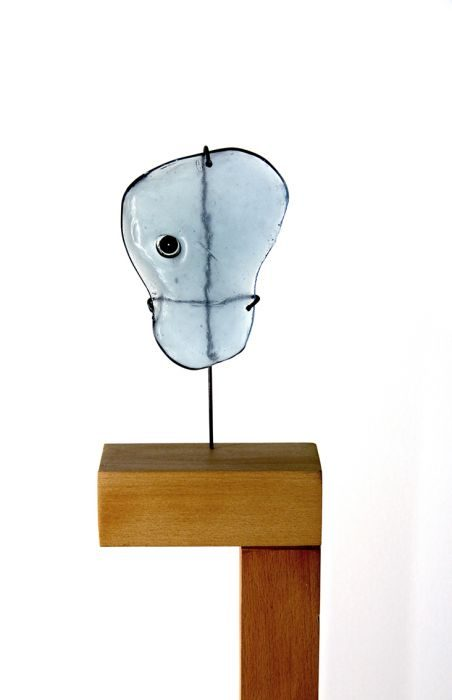 Chanan De Lange, Column no.2, Beech Wood/ Glass/Metal, 25x20x110cm, 2015
