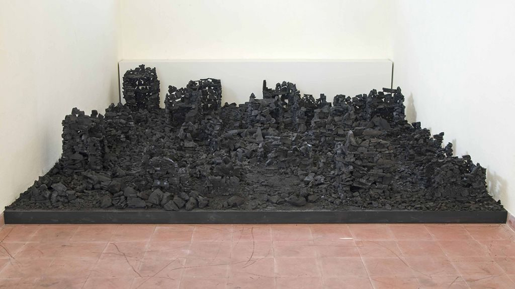 Dina Shenhav, At the end of the city, 5mx5mx1m, coal, Art TLV, Tel aviv, Israel, 2009