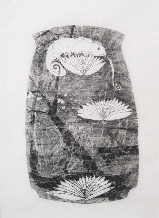Shahar Yahalom, untitled #3, monoprint, 50x35cm, 2016