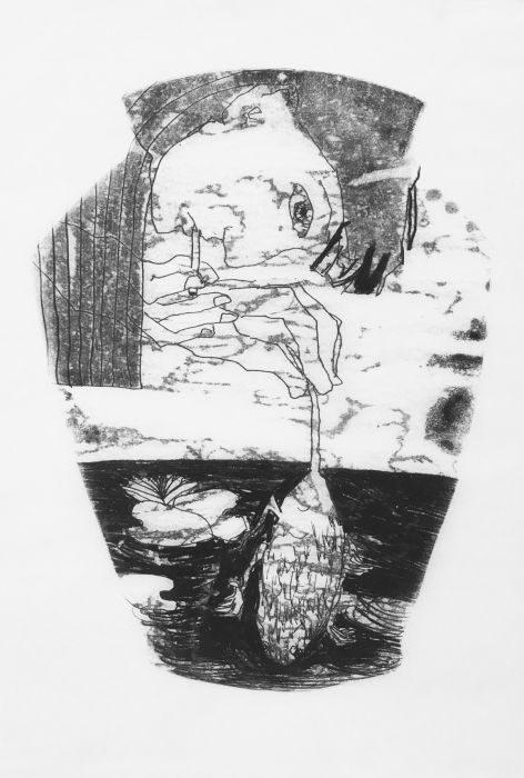 Shahar Yahalom, untitled#5, monoprint, 50x35cm, 2016