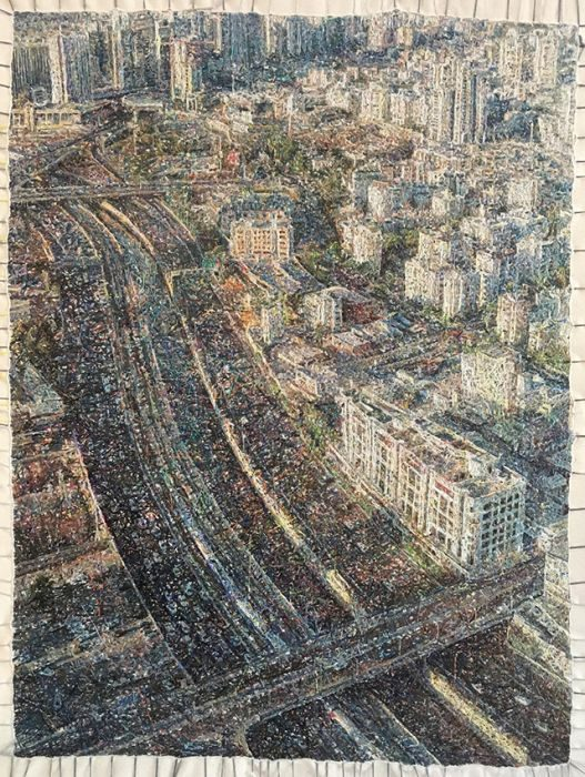 Aviv Keller, north east, embroidery on canvas, 58x44cm,2016