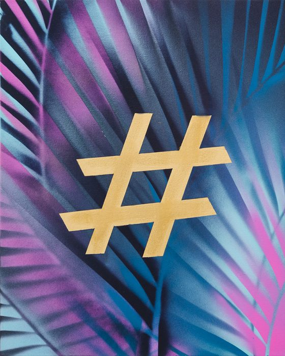 Hashtag Ornament, 2018, spray paint on canvas, 50x40 cm