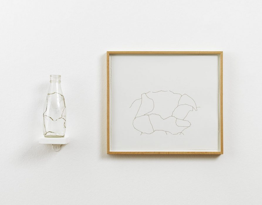 Amikam Toren, Simple Fractions (III), 1975, glass; araldite, shelf, framed drawing; print 36x40.5cm, Glass 22x7x7 cm