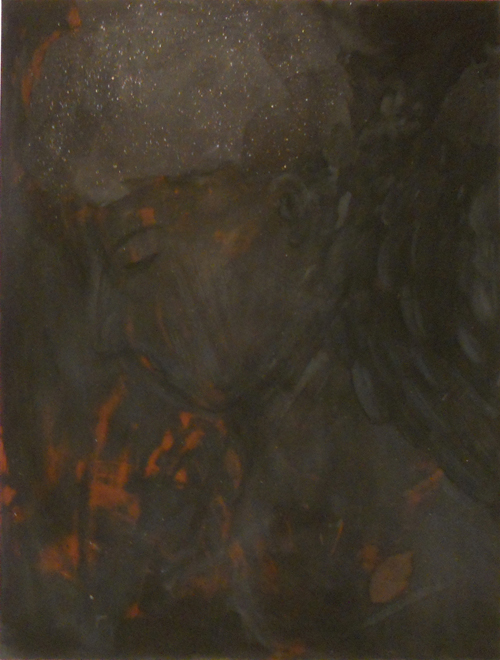 Black angel, 2012, oil paint, sand and pigment on canvas, 120x90cm