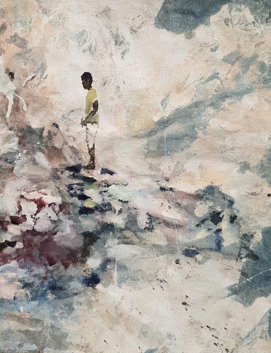 Boy, 2019, ink & collage on raw canvas, 42x34cm
