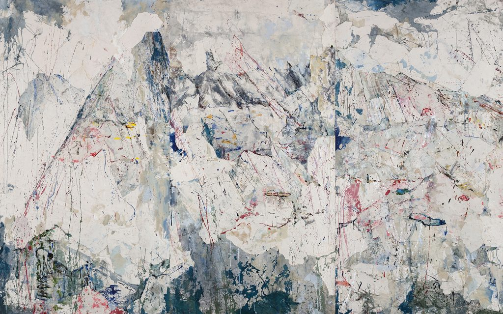 Mountain Triptych, 2019, ink & collage on raw canvas, 179x290cm