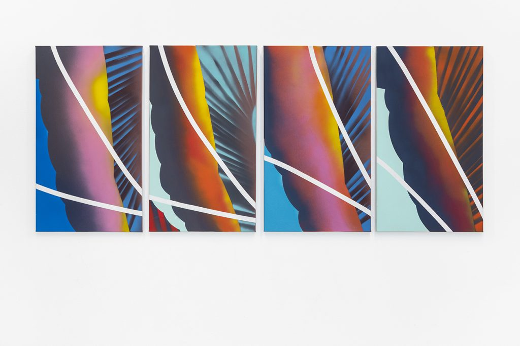 Ornament reversed sunsets, 2018, spray paint on canvas, 70x40cm each
