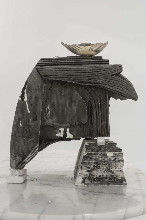 Armor, 2018, aluminium cast in black sand, 45x37x27cm