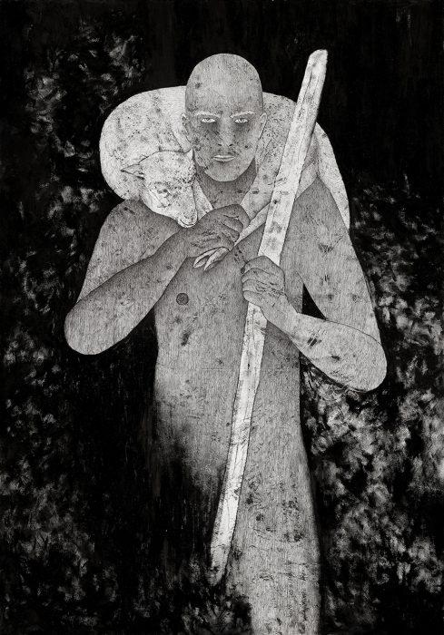 Abel (the good shepherd), 2019, Oil & Ink on Paper, 150x110 cm