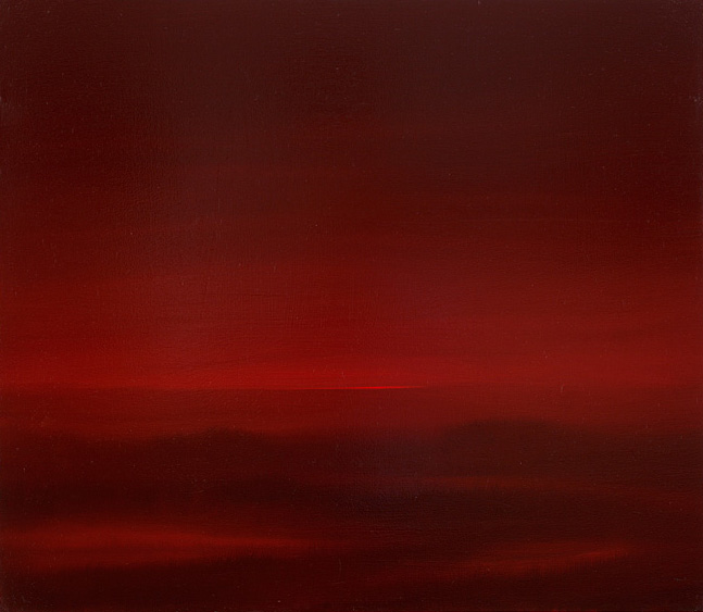 Mosh Kashi, Crimson fields, oil on canvas. 20x20cm, 2011