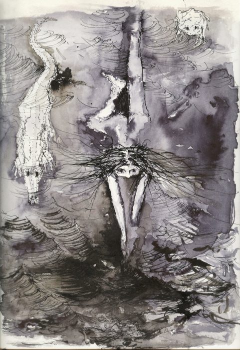 Shahar Yahalom, The Swimmers, 30x20cm, Ink on paper, 2012