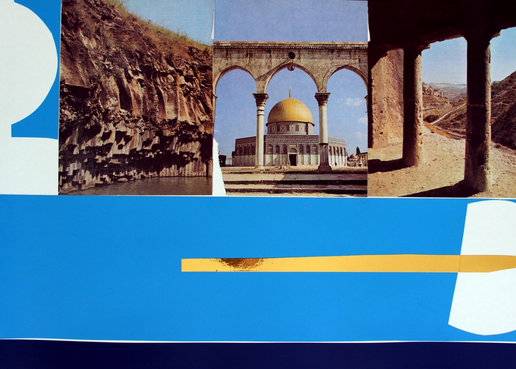Untitled (Al Aqsa), Wallpaper, glow tape and reprudaction on paper, 70x50cm,2007