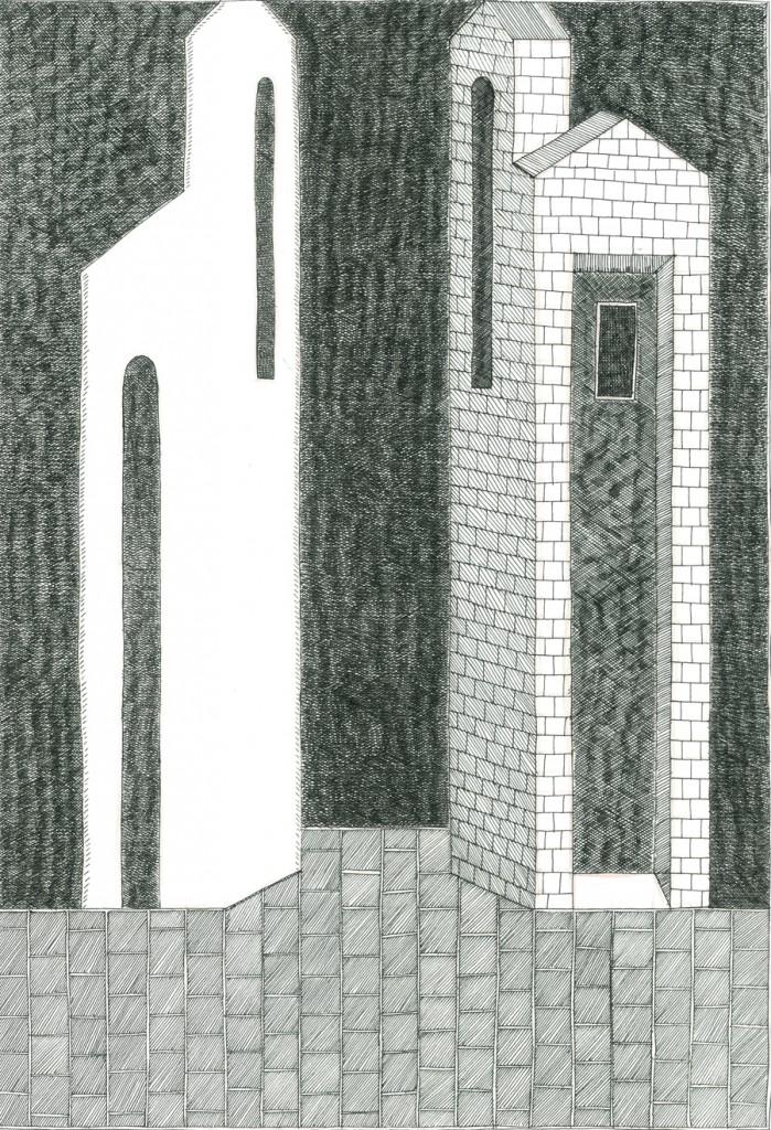 Alexandra Zuckerman, Two towers, Ink pen on paper, 29.7x42cm, 2014