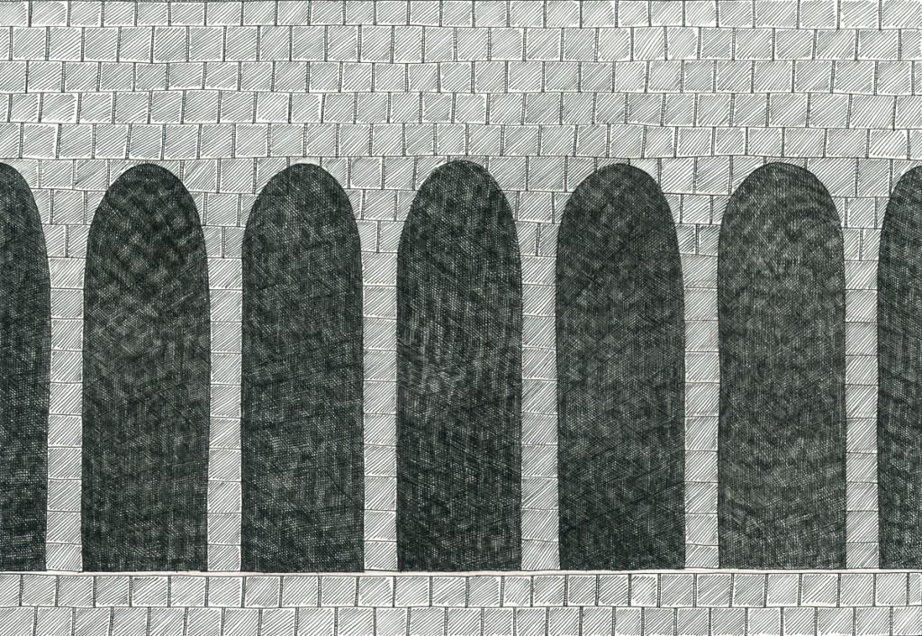 Alexandra Zuckerman, Archs, Ink pen on paper, 29.7x42cm, 2014